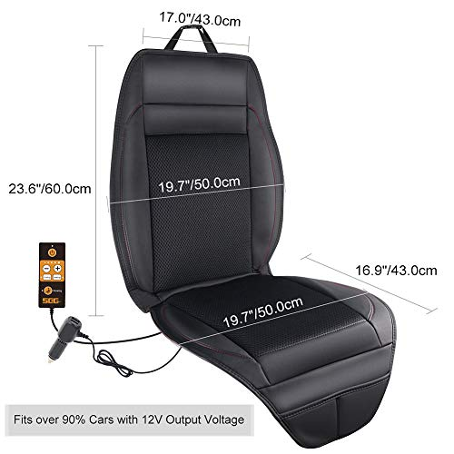 Heating for Winter SEG Direct 3-in-1 Car Smart Seat Cushion Vibrating for Driving with 12V Output Voltage Adapter with 5 Adjustable Levels of Ventilation and Heating Ventilation for Summer