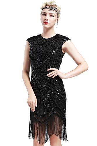 BABEYOND Damen Kleid voller Pailletten 20er Stil Runder Ausschnitt Inspiriert von Great Gatsby Kostüm Kleid (S (Fits 68-78 cm Waist & 86-96 cm Hips), Schwarz)
