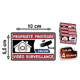Autocollant propriété sous vidéo surveillance alarme logo 363 sticker