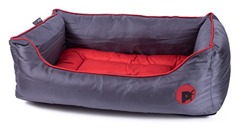 Petface Oxford Square Dog Bed, X-Large, Red