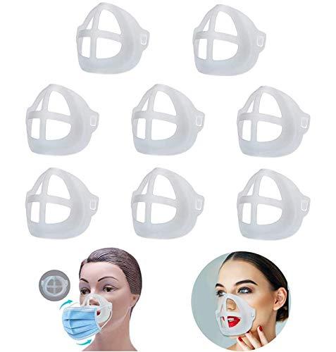 3D Maskenhalterung, [8 PCS] Dreidimensional Kieselgel Maske Halterung, Waschbar Wiederverwendbar Lippenstift Schutzständer - Mehr Atmungsraum Zu Schaffen, Verhinderung der Entfernung Von Make-Up