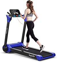 Goplus 2.25HP Electric Folding Treadmill, Installation-Free Design with 8-Stage Damping System, Large LED Touch Display and Bluetooth Speaker, Compact Running Machine for Home Use