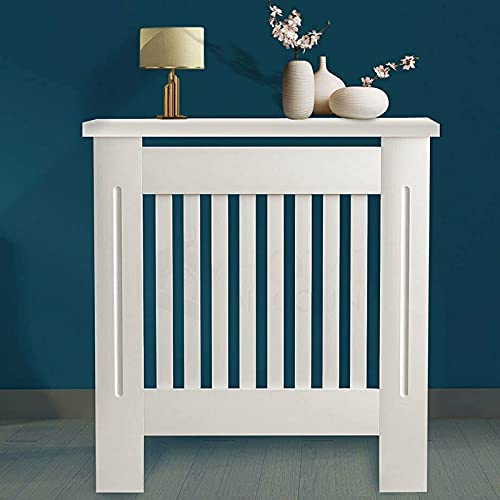 Radiator Cover, Traditional Modern White Painted Finished Wood MDF Heater Cover Case Cabinet Protector Slatted Lined Grill Vertical Vent Slats 78 x 82 x 19cm Heating Cabinet for Home Living Room
