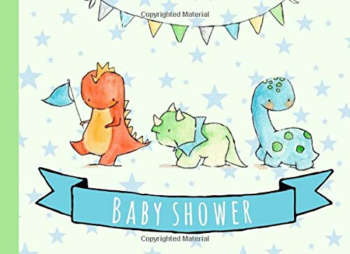 Baby Shower: Guest book,Dinosaur,With gift log,Tracker,Record, Keepsake,Memory,Write Predictions & Advise, Space for picture,Green