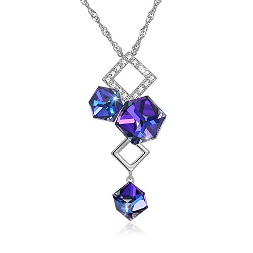 Yandm Sterling Silver Rhombus Simplicity Austria Crystal and Cubic Zirconia Pendant Necklaces for Women