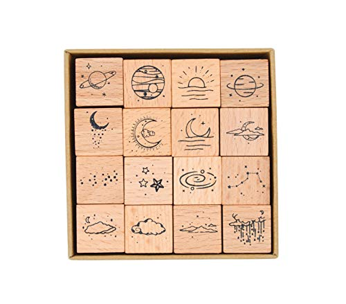 Cliocoo 16pcs Moon&Star Wood Rubber Stamp Set M-26