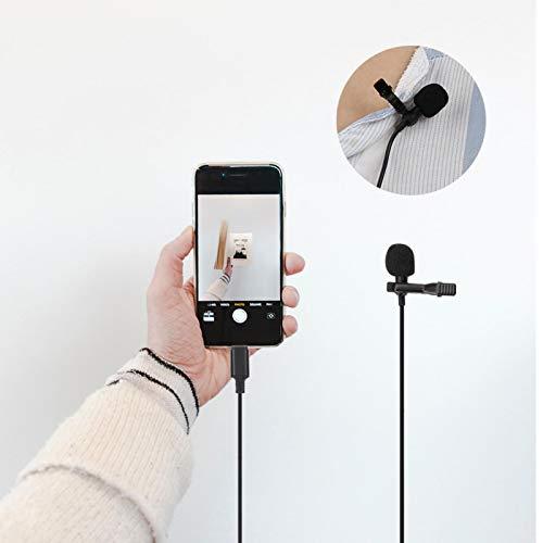 Clip de manos libres negro en el micrófono de solapa de plástico de baja tasa de fallas, para DSLR, computadora portátil, etc. con condensador omnidireccional