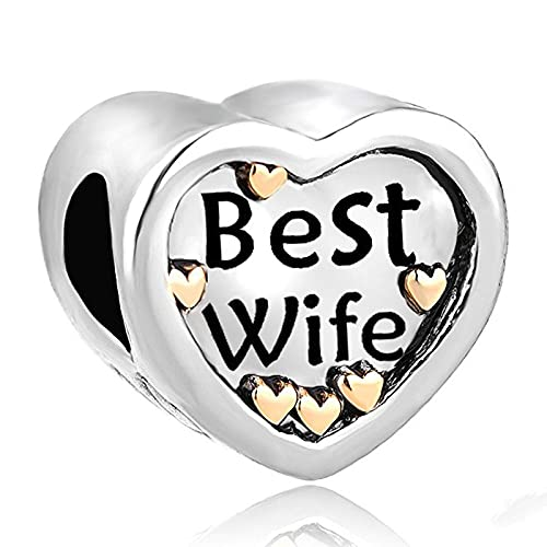 LIJIAN DIY 925 Sterling Jewelry Charm Beads Lover Heart Stamped Best Wife Antique - - Hacer Originales Pandora Collares Pulseras Y Tobilleras Regalos para Mujeres