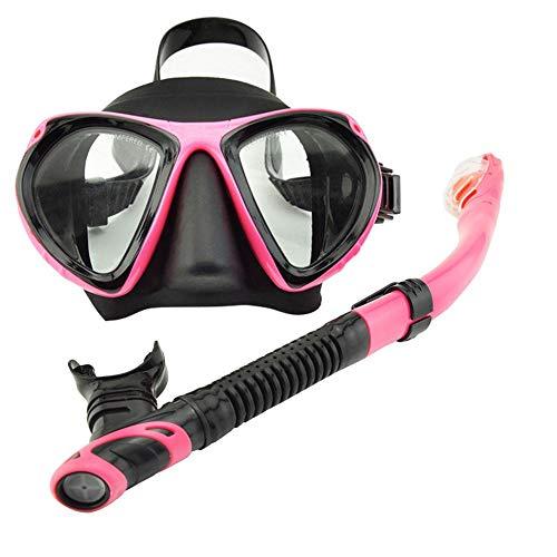 apofly Snorkel Seco Facebobre Facia Visera Snorkel Set Diving Face Funda con Tubo De Respiración para Hombre Mujer Adulto Pink 2pcs