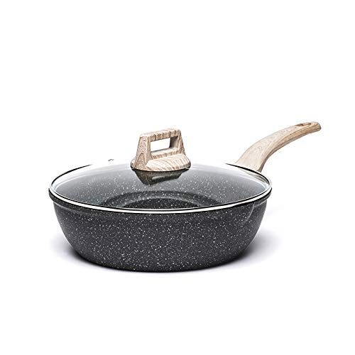 Carote 3 Quart Nonstick Saute Pan Deep Frying Pan with Cover, Non-Stick Jumbo Cooker Granite Stone Coating from Switzerland,9.5 inch