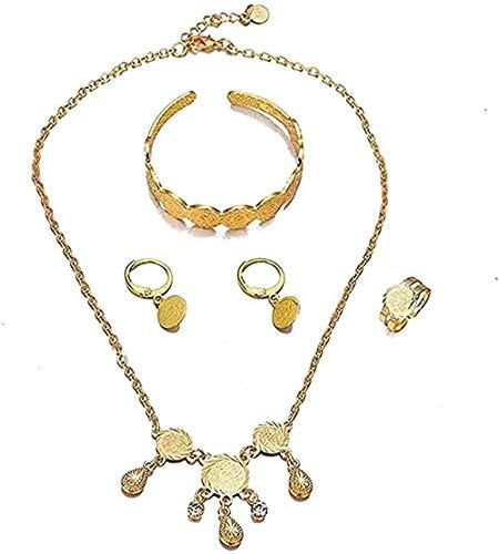 YOUZYHG co.,ltd Collar Collar Color Dorado Niños Conjuntos de Joyas para bebés Collar/Pendientes/Anillo/Pulsera Regalo para niños Joyería árabe etíope Regalo para Mujeres Hombres Regalos