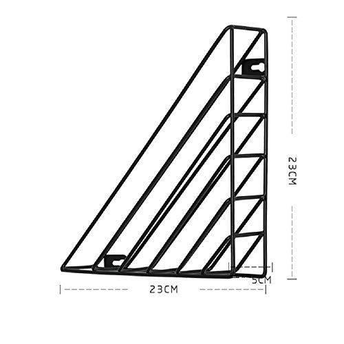 PINGJING Schmiedeeisen-Multifunktions-Bücherregal, Wandmontage, Schreibtisch-Dekoration, Dokumentenregal schwarz