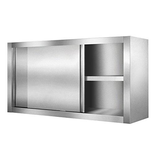 Zello Gastro - Armadietto pensile da parete in acciaio inox, con 2 ante scorrevoli e ripiano aggiuntivo, per cucina, cucina, magazzino, gastronomia, grandi cucine, cantine e molto altro