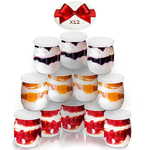 Vasos yogurtera de cristal con 24 tapa pack de 12 botes para yogurtera de 143 Ml tarros para postres recipiente para moulinex, lidl, severin, braum y resto de yogurteras (Tapa Blanca) (143)