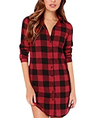 Casual and Stylish Style, Buffalo Check Plaid Pattern, Flannel Long Sleeve with Buttons, Long Tops Shirts Blouses. Women Check Plaid Long Sleeve Polo Neck Buttons Casual Loose Long Tops Shirts Blouses.Simple, Slimming And Comfortable.Perfect For Part...
