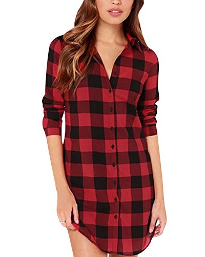 StyleDome Women Buffalo Check Plaid Long Sleeve Collar Neck Casual Button Down Tops Shirts Long Blouses Black Red 6