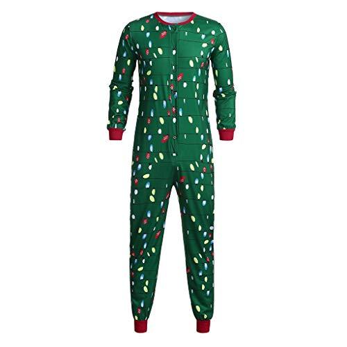 Amphia - Langarm Weihnachten - Familienkleidung Pyjamas,Frauen-Mamma beleuchtet Brief-Spielanzug-Overall-Familien-Pyjamas-Weihnachtskleidung(Papa,XXL)