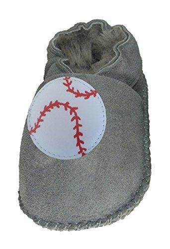 Plateau Tibet - Chaussons Chaussures bébé en Cuir Souple avec Doublure en VERITABLE Laine d'agneau Bottines garçon Fille Enfant - Baseball - Gris, 30/31