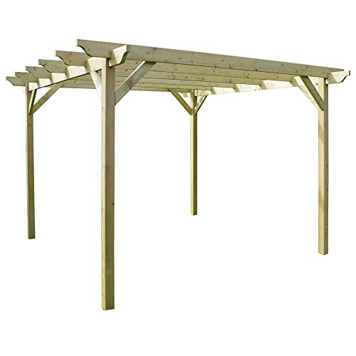 Rutland County Garden Furniture Wooden Garden Pergola Sculpted Rafter - 4 Post Design (3m x 3m, Light Green)