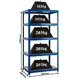 Certeo scaffale per carichi pesanti | 178x90x60 cm | 265 kg per ripiano | Profondità 60 cm | Scaffale metallico scaffale industriale scaffale per l'officina scaffale per il garage