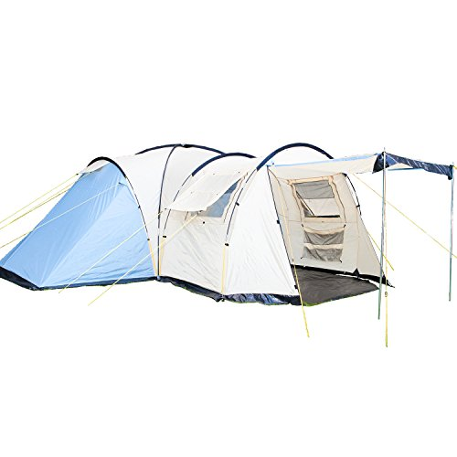 Skandika Toronto Family Camping Tent with 3 Sleeping Rooms and Sun Canopy Porch, Blue/Beige, 6 Persons/Large