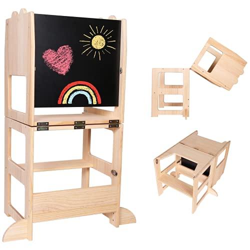 Torre de aprendizaje 3 en 1 + mesa + pizarra de CRS® [NUEVO] Montessori para niños a partir de 1 año | Silla de aprendizaje / trona de madera sin tratar | Utensilio de cocina para bebés y niños