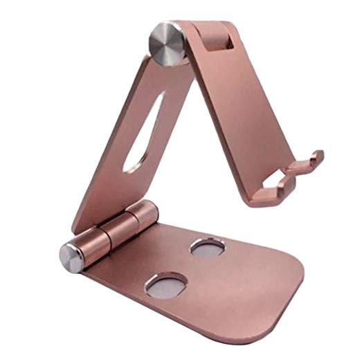 Kesio Soporte plegable para teléfono móvil, doble plegable, soporte universal de aluminio, soporte para escritorio de oficina, compatible con iPhone 11 Xs XR X 8 SE 2020 y más (dorado)