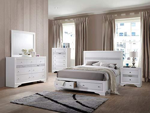 Esofastore White Finish Storage Queen Size 4pc Bedroom Furniture...