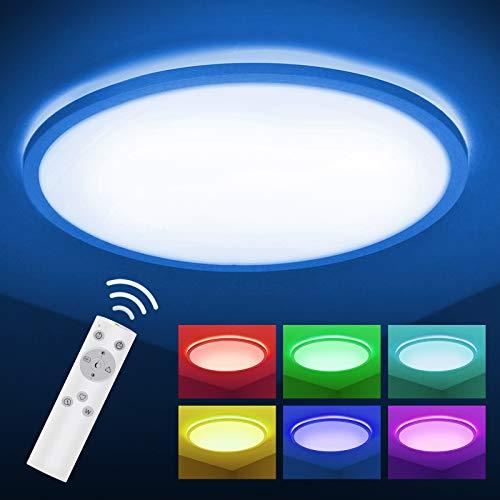 LED Deckenleuchte RGBW Farbwechsel, BIGHOUSE 18W 1600lm Deckenlampe Dimmbar, Farbe und Helligkeit Einstellbar, IP44 Wasserfest für Badezimmer, Wohnzimmer, Balkon, Flur Küche, Ø295×25mm