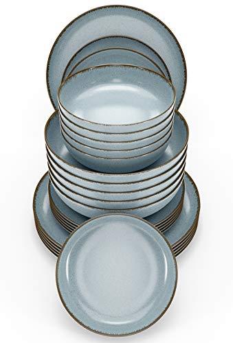 Essgeschirr 6 Personen Set - Trendy Rustikales Design in Blau - Porzellan Schüssel- und Teller Set Modern 24-teilig - Spülmaschinenfestes Tafelservice Set - Geschirrset Vintage von Pure Living