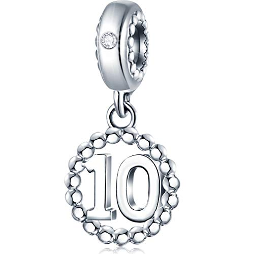 10 Number Bracelet Charms 925 Sterling Silver Pendant Beads Fit Pandora Charm Bracelets, Necklace, and European Snake Chain, Dangling Dangle for Happy Birthday 10th Anniversary 10 Years