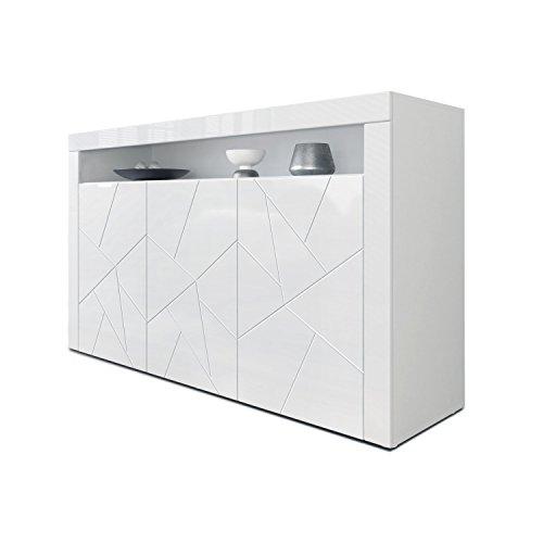 Sideboard Kommode Valencia, Korpus in Weiß matt/Fronten in Weiß Hochglanz Element mit 3D Struktur und Blenden in Weiß Hochglanz