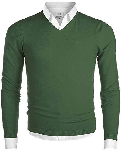 Herren Pullover V-Ausschnitt Langarmshirt Männer Strickpullover Grün L