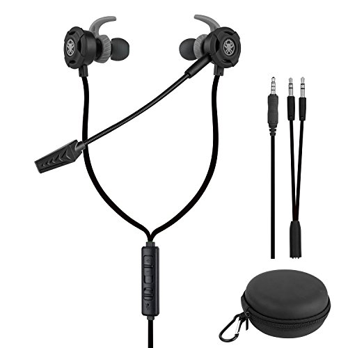 Samoleus In Ears Kopfhörer mit Verstellbarem Mic, 3.5MM Wired Earbuds Gaming Earphones Ohrhörer mit 3 Pairs Different Sizes Earbuds für PS4, Xbox, PC, Laptop, Mobile Phone (Schwarz - In Ear)