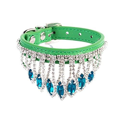 DHZYY Collar de Perro, Collar de Cristal de Mascotas Cuello de Correa de Cuello de Perrito, para pequeños Collar de Gato de Perro (Color : Green, Size : S)