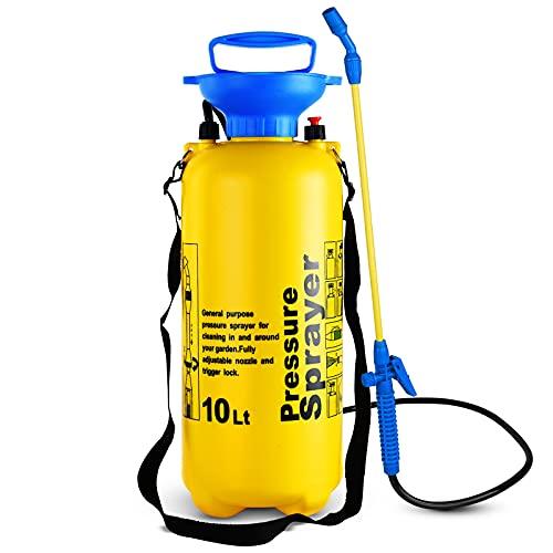 Homespired® 10L Pressure Sprayer Knapsack Garden Chemical Weed killer Portable Water Spray Bottle with Shoulder Strap - Garden Pump Action Pressure Sprayer (10 Litre)