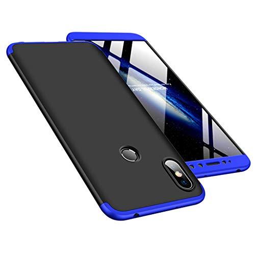 """Kit Capa Capinha Anti Impacto 360 Para Xiaomi Redmi S2 Tela 5.99"""" - Case Acrílica Fosca E Acabamento Macio Com Película De Vidro Temperado - Danet (Preto Com Azul)"""