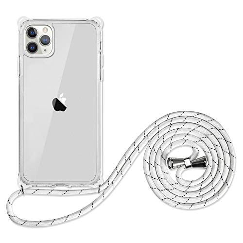 SZINTU for iPhone 11 Crossbody Lanyard Phone case [1.5m Anti-Fall] Cute Pattern Clear Design Transparent Soft&Flexible TPU Drop and Shockproof Protective Cover with Adjustable Nylon Neck Strap(Clear)
