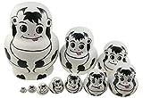 Zfggd Set 10 piezas de Vaca linda Tema animal de madera de apilamiento juguete Natividad Muñecas hechas a mano Matryoshka regalos de juguetes de niños