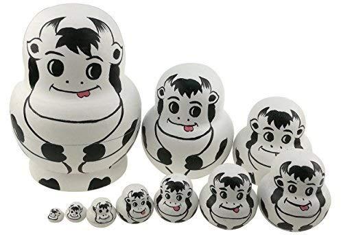 Dongyd Set 10 Piezas de Vaca Linda Tema Animal de Madera de apilamiento Juguete Natividad Muñecas Hechas a Mano Matryoshka Regalos de Juguetes de niños