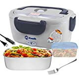 Electric Lunch Box, Kowth 2 in 1 Food Heater Warmer 1.5L with Removable Stainless Steel Container Portable for Car, Office, School and Home Use 110V & 12V 40W, Spoon and Fork Included (Dark gray)