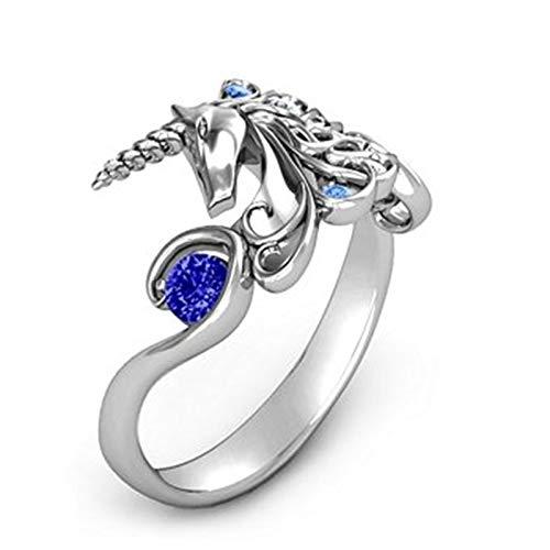 BQZB Ring Unicornio de Plata Anillo de Corte Princesa para Hombre Mujer Joyería Regalos de Compromiso de Boda