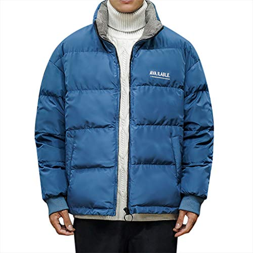 MAYOGO Winterjacke Herren Jacke Winter Baumwolle Puffer Jacke Wintermantel Winterparka Wattierte Jacke Full-Zip Winter Jacke Steppjacke Downen Jacke (Blau, XL/EU:40)