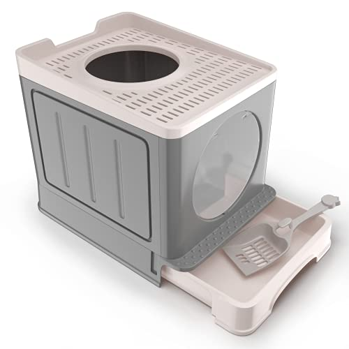 IKARE Cat Litter Box, Double-Door Cat Litter Box with Cat Litter Scoop & Retractable Tray, Easy Setup, Easy to Clean