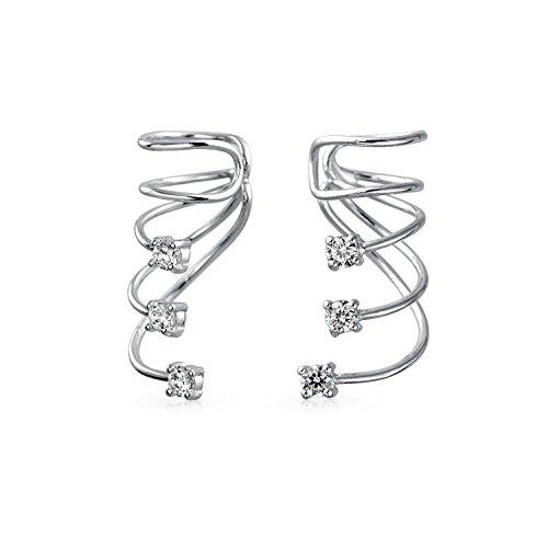 Minimalist Triple Spiral CZ Wire Cartilage Ear Cuff Wrap Cubic Zirconia Climber Crawler Helix Earring Sterling Silver