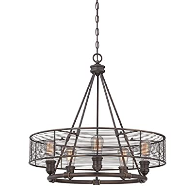 """Eurofase 28065-012 26"""" Diameter Terra Industrial Drums Chandelier With 1 Edison Light Bulb, Large, 26"""" x 26"""" x 25.25"""", Weathered Bronze Finish"""