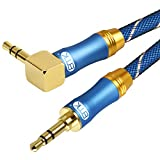 EMKステレオミニプラグ オーディオケーブル 片側L型 高音質再生 標準3.5mm AUX接続高音質再生 (2M)
