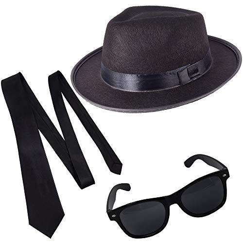 German Trendseller® Blues Brothers - Set - Schwarz - Deluxe -┃ Filz Hut + Sonnenbrille + Krawatte ┃ Sänger ┃ Karneval ┃ Brothers of Blues - Set