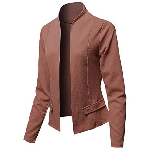 WUSIKY Blazer Damen Strickjacke Bolero Dünne Jacken Tops Langarm Frauen Büro Wear Cardigan Mantel (S, Kaffee)