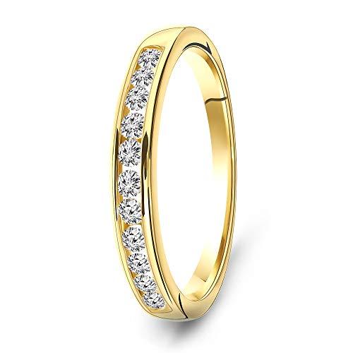 Miore Ring Damen 0.33 Ct Diamant Ewigkeitsring aus Gelbgold 14 Karat / 585 Gold, Schmuck mit Diamanten Brillanten